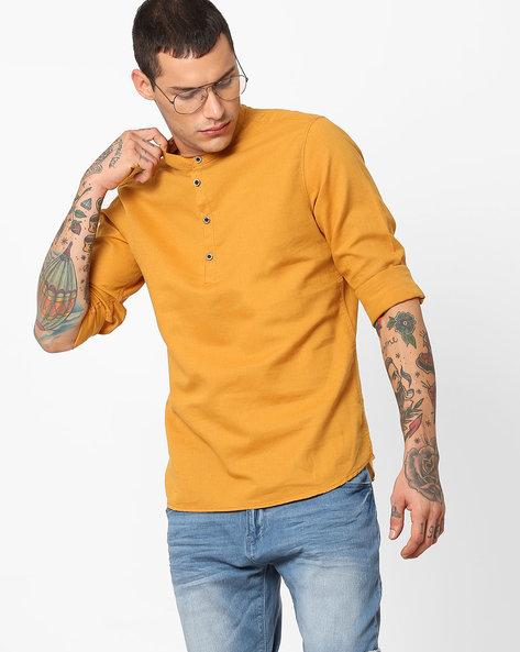 Shirt With Mandarin Collar By AJIO ( Mustard )