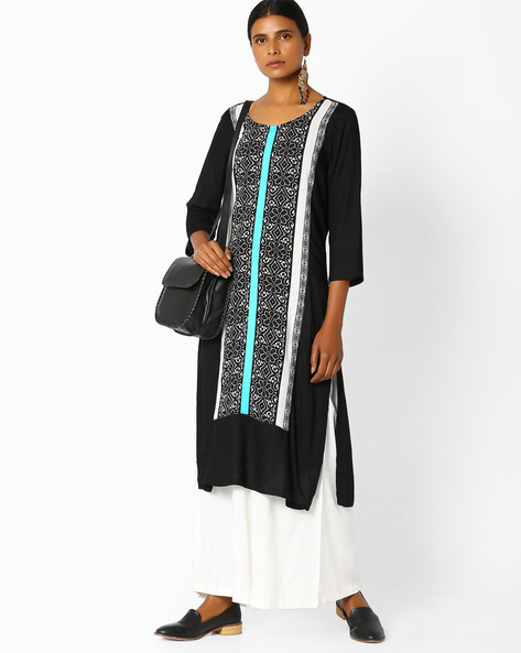 Printed Kurta With Palazzo By AVAASA SET ( Black )