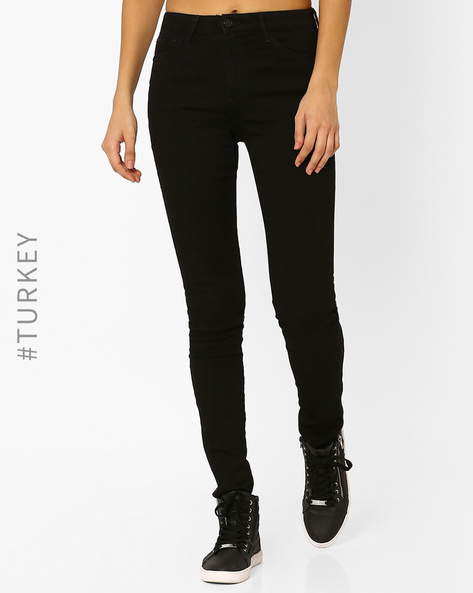 Mid-Rise Super Skinny Jeans By Cross Jeans ( Black )