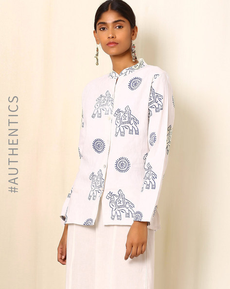 Handblock Animal Print Cotton Satin Jacket By Ek Taara ( White )