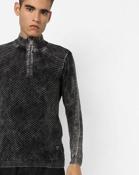 High-Neck Half-Zipper Sweater By Killer ( Black )
