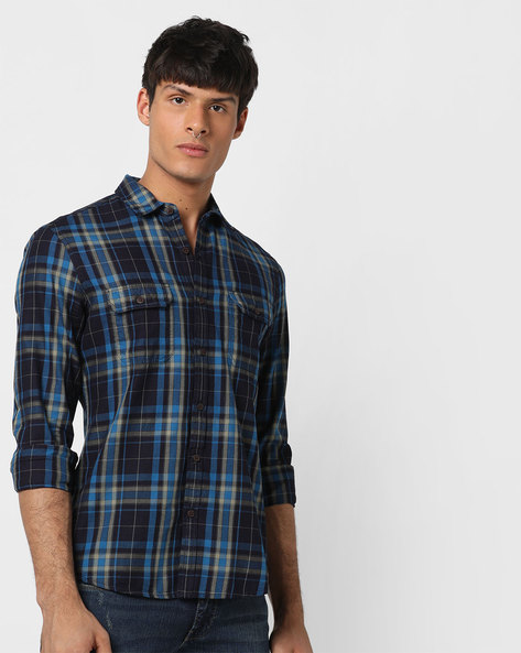 Checked Slim Fit Shirt With Flap Pockets By AJIO ( Blue )