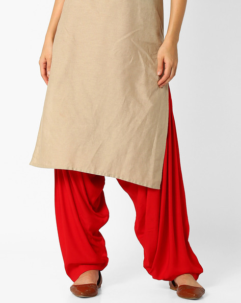 Cotton Patiala Pants By Stylenmart ( Red )