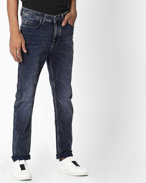 Slim Fit Jeans With Whiskers By UNITED COLORS OF BENETTON ( Blue ) - 460106392003