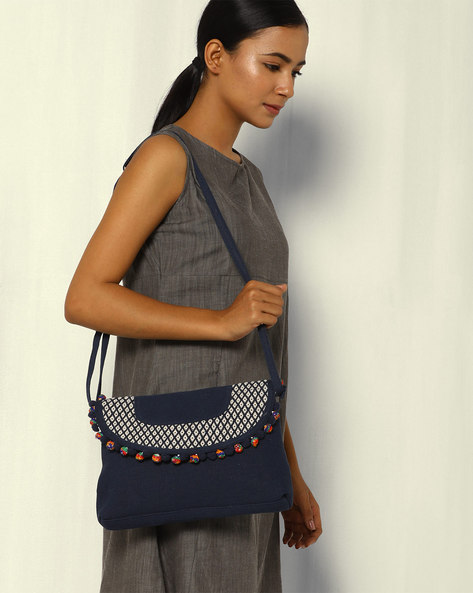 Canvas Sling Bag With Pom-Pom Trim By THEEA ( Darkblue )