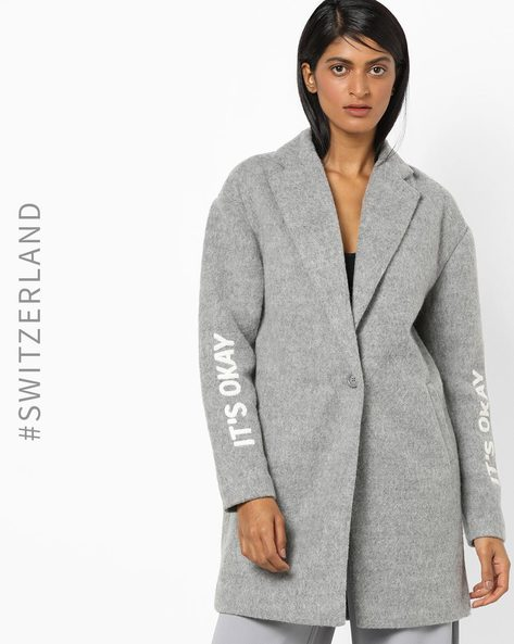 Textured Trench Coat With Notched Lapel By TALLY WEiJL ( Grey )