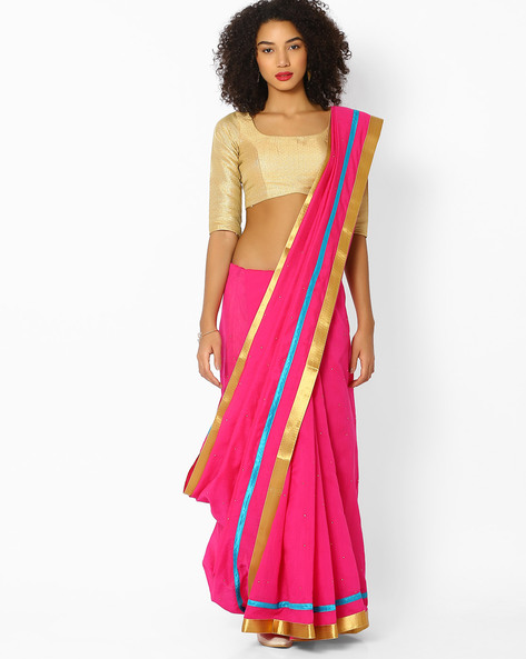 Embellished Saree With Contrast Border By Vastrangi ( Pink )