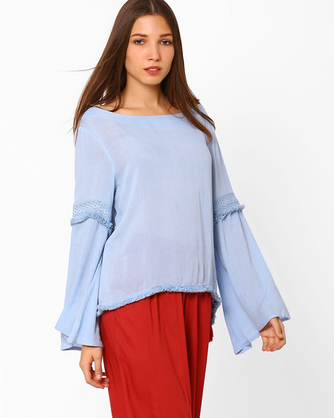 Top With Bell Sleeves By Rena Love ( Aqua )