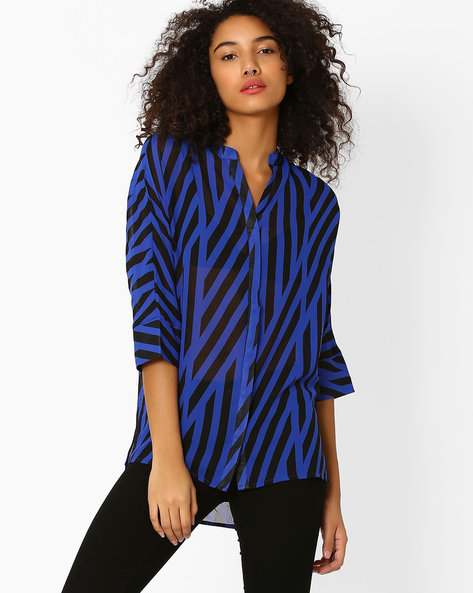 Striped High-Low Top By Oxolloxo ( Blue )