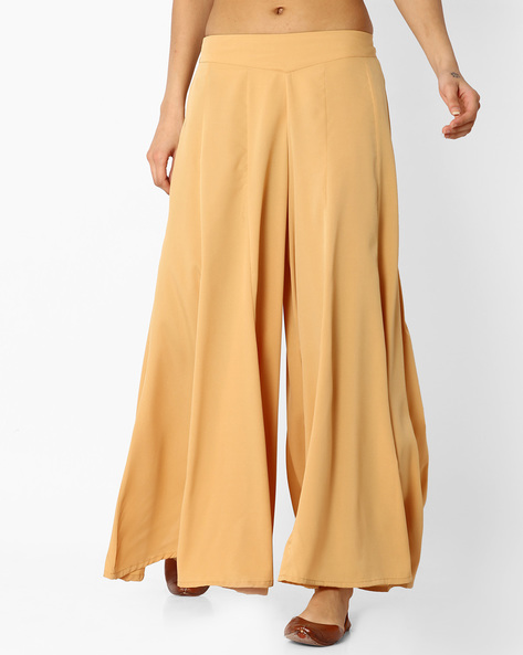 Palazzo Pants With Elasticated Waistband By AURELIA ( Gold )