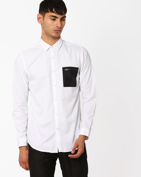 Casual Shirt With Contrast Chest Pocket By ADAMO LONDON ( White )