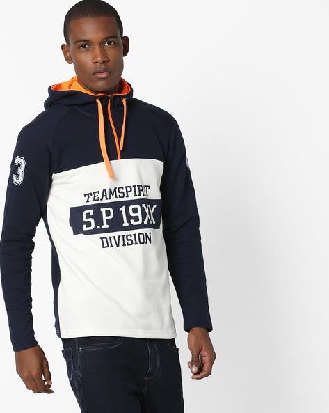 Printed Hooded Sweatshirt With Ribbed Hems By Teamspirit ( Navy )