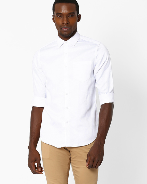 Slim Fit Cotton Shirt By Black Coffee ( White ) - 460038472003