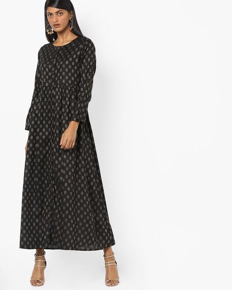 Printed A-line Dress By Desi Fusion ( Black )