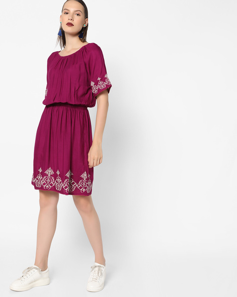 Embroidered Dress With Elasticated Waist By Tokyo Talkies ( Red )