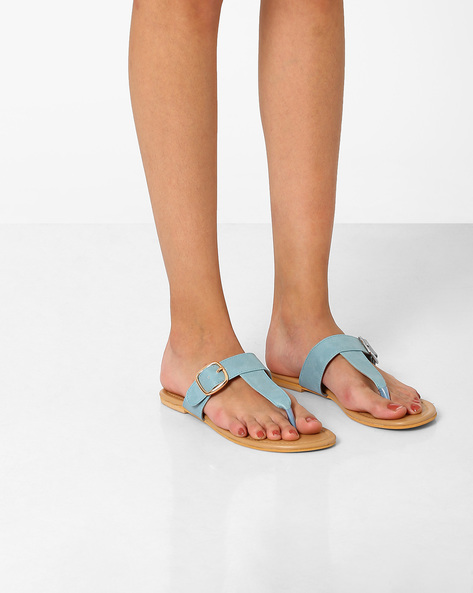 T-strap Flats With Buckle Detail By AJIO ( Blue )