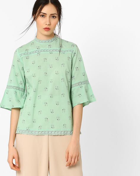 Bell Sleeves Top With Lace Inserts By AJIO ( Lightgreen )