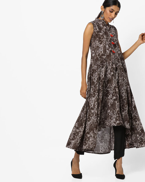 Printed Kurta With High-Low Hemline By Vishudh ( Brown )