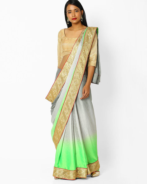 Colourblock Saree With Zari Border By Majestic Silk ( Grey )