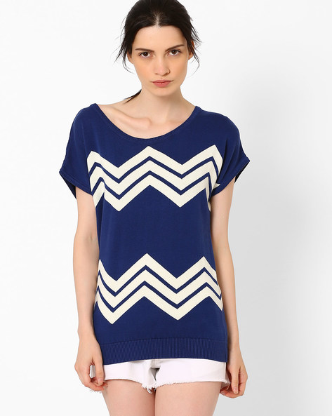 Flat Knit Top With Short Sleeves By AJIO ( Navyblue )