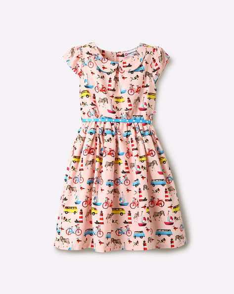 Printed Fit & Flare Dress With Belt By Peppermint ( Peach )