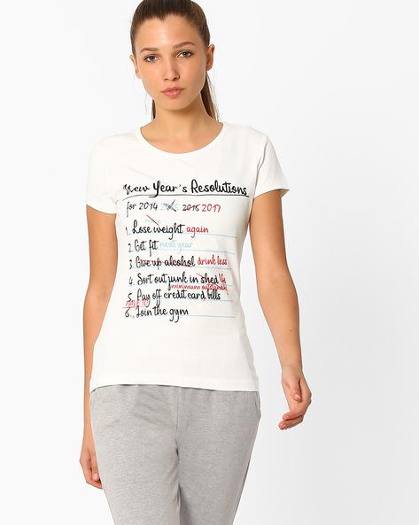 Graphic Print T-shirt By AJIO ( Offwhite )