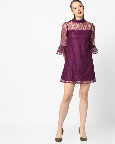 Lace Shift Dress With Bell Sleeves By Sassafras ( Purple )