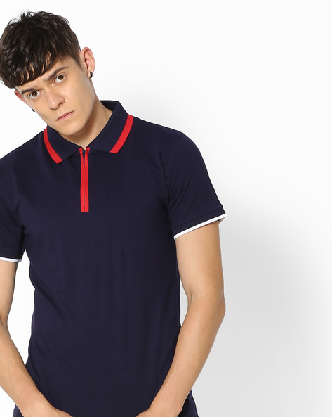 Polo T-shirt With Contrast Stripes By Blue Saint ( Assorted )