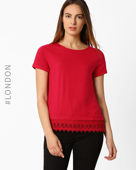 T-shirt With Lace Hem By Marks & Spencer ( Red )