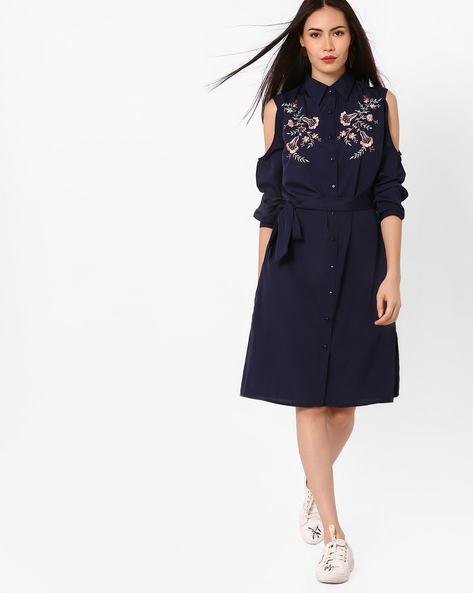 Cold-Shoulder Shirt Dress With Floral Embroidery By Oxolloxo ( Navyblue )