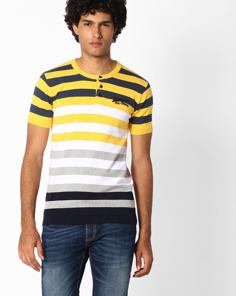 Striped Henley T-shirt With Ribbed Hems By TEAM SPIRIT ( Yellow )