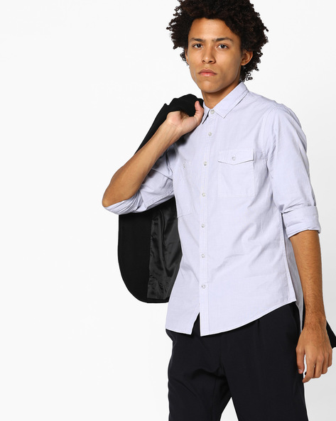 Slim Fit Shirt With Elbow Patches By AJIO ( Lightgrey )