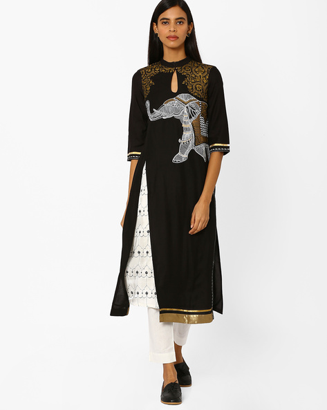Printed Straight Kurta With Contrast Hems By W ( Black )