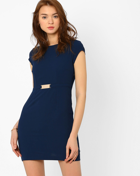 Bodycon Dress With Attached Belt By AJIO ( Navyblue )