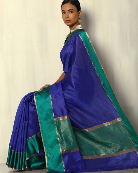 South Silk Saree With Zari Border By Pretty Woman ( Blue )