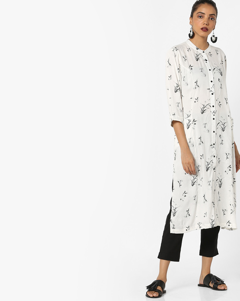 Printed Straight Kurta With Pockets By Project Eve IW Casual ( Offwhite )
