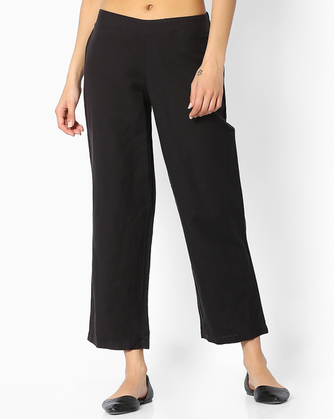 Linen Ankle-Length Pants By Melange By Lifestyle ( Black )