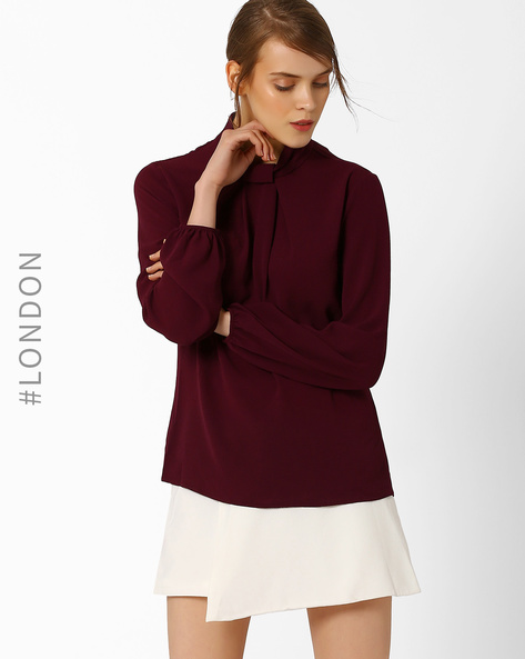 Long Sleeve Blouse With Knot Detail By Closet London ( Purple )