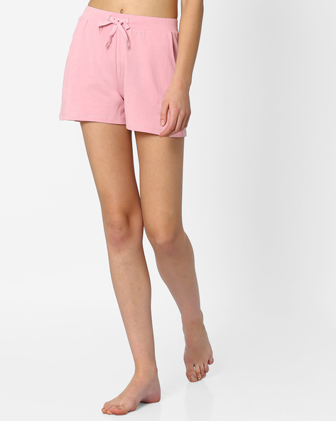 Lounge Shorts With Drawstring Fastening By AJIO ( Pink )