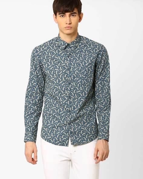 Printed Slim Fit Shirt By JOHN PLAYERS ( Blue ) - 440735861002