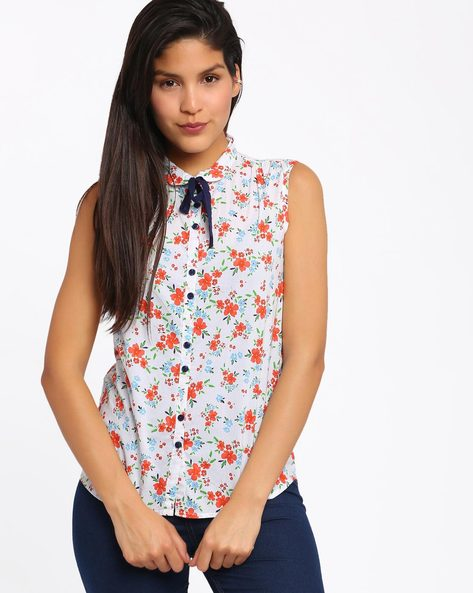Floral Print Sleeveless Top By Honey By Pantaloons ( Offwhite )