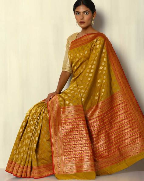 South Silk Thousand Buta Saree With Zari Border By Pretty Woman ( Olive )