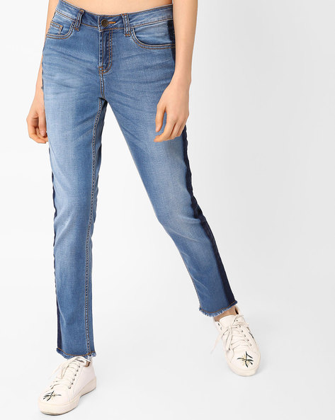 Colourblock Straight Fit Jeans By AJIO ( Blue )