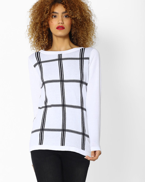 Checked Top With Full Sleeves By FIG ( White )