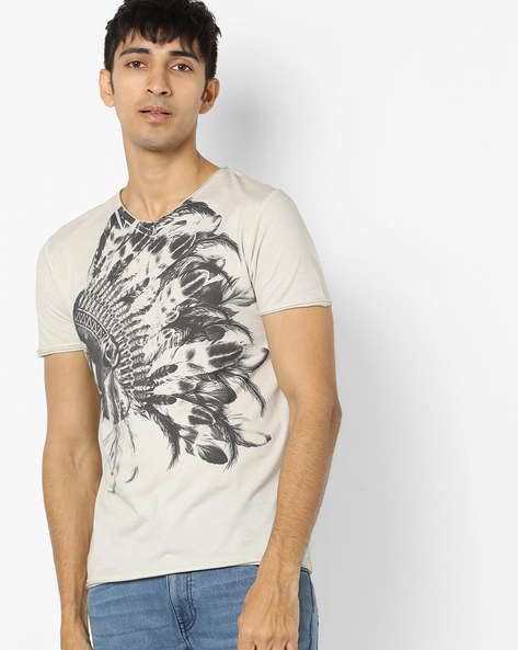 Graphic Print T-shirt With Raw Hems By ED HARDY ( Brown )
