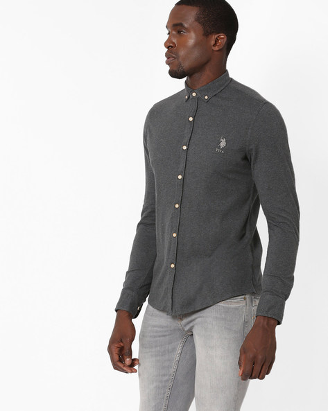 Slim Fit Shirt With Button-Down Collar By US POLO ( Darkbrown )