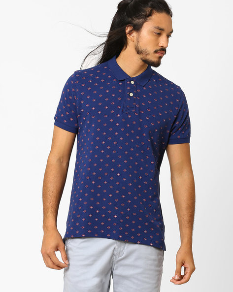 Printed Slim Fit Polo T-shirt By FLYING MACHINE ( Assorted ) - 440720323005