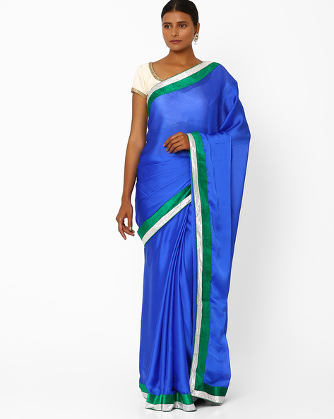 Satin Fashion Saree By Florence ( Navyblue )