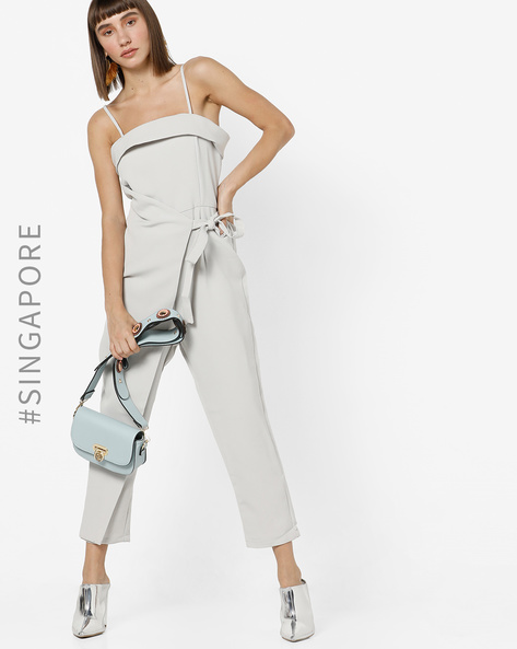 Strappy Asymmetric Jumpsuit By MDS ( Grey )