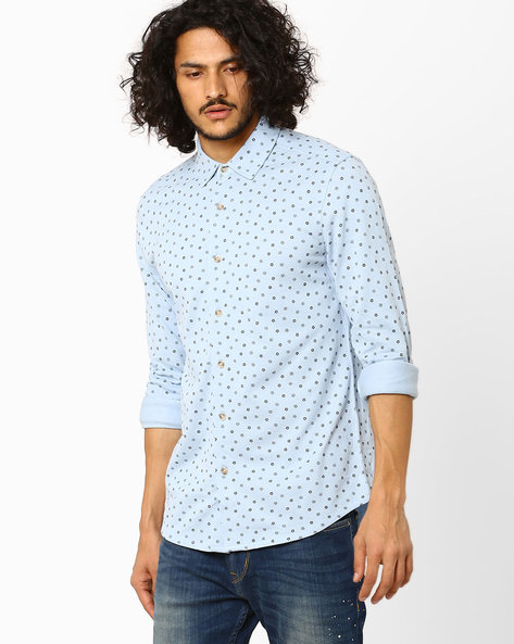 Slim Fit Knitted Shirt By Jack & Jones ( Blue )